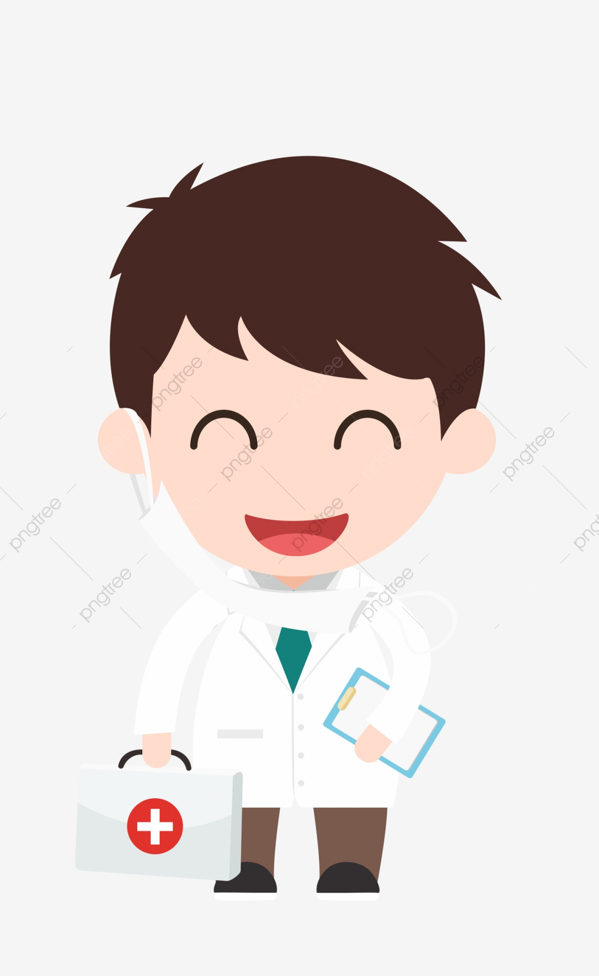 Medical Cartoon Doctor Cute Smiley Face Wear Mask, White Coat ... picture transparent