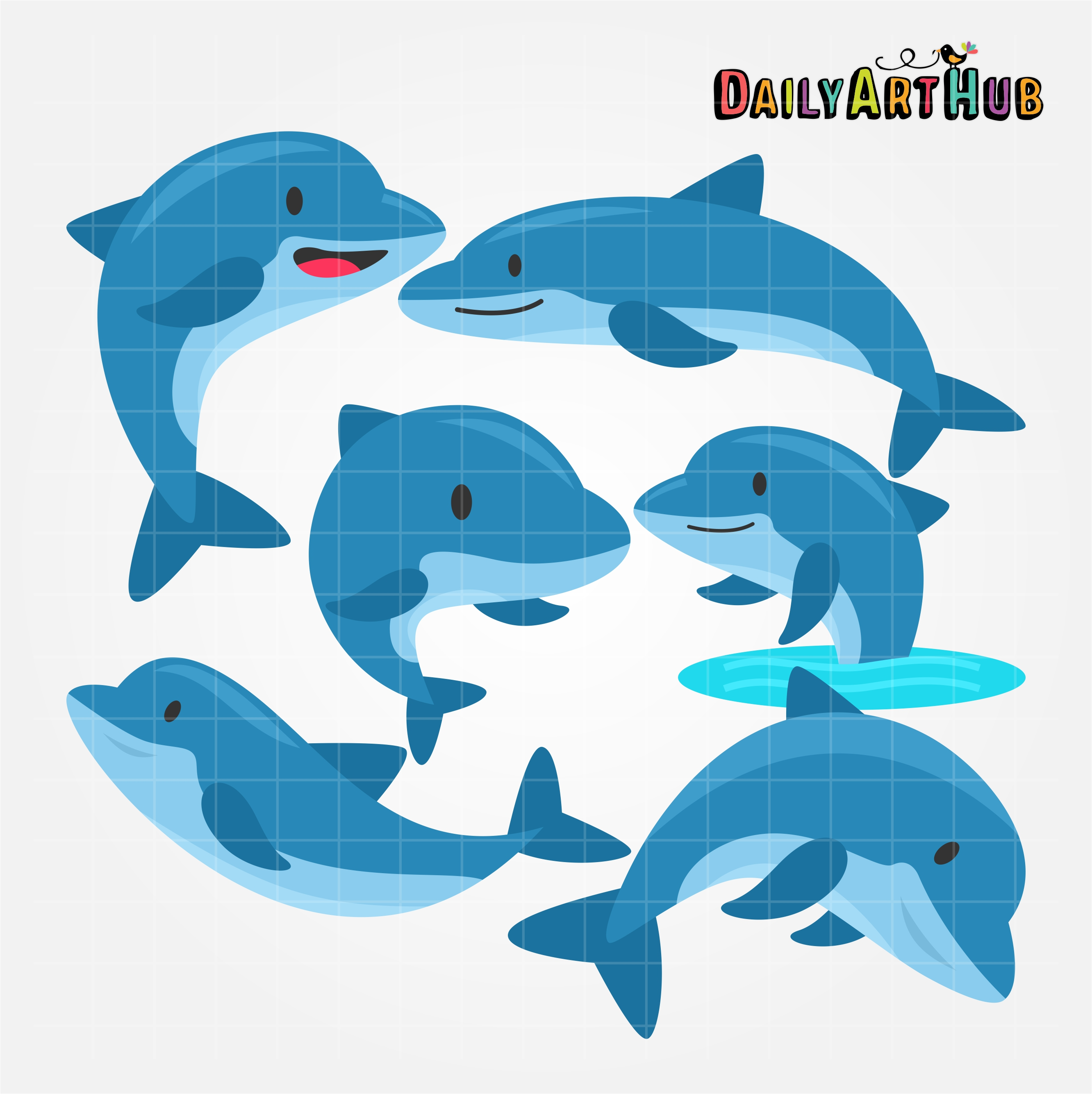 Cute dolphin clipart image free stock Cute Dolphins Clip Art Set image free stock