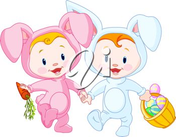 Cute easter basket clipart banner black and white download iCLIPART - Two cute Easter Babies-bunnies, holding hands | Easter ... banner black and white download