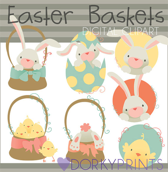 Cute easter basket clipart svg royalty free download Easter Basket Clipart Set Personal and Limited Commercial svg royalty free download