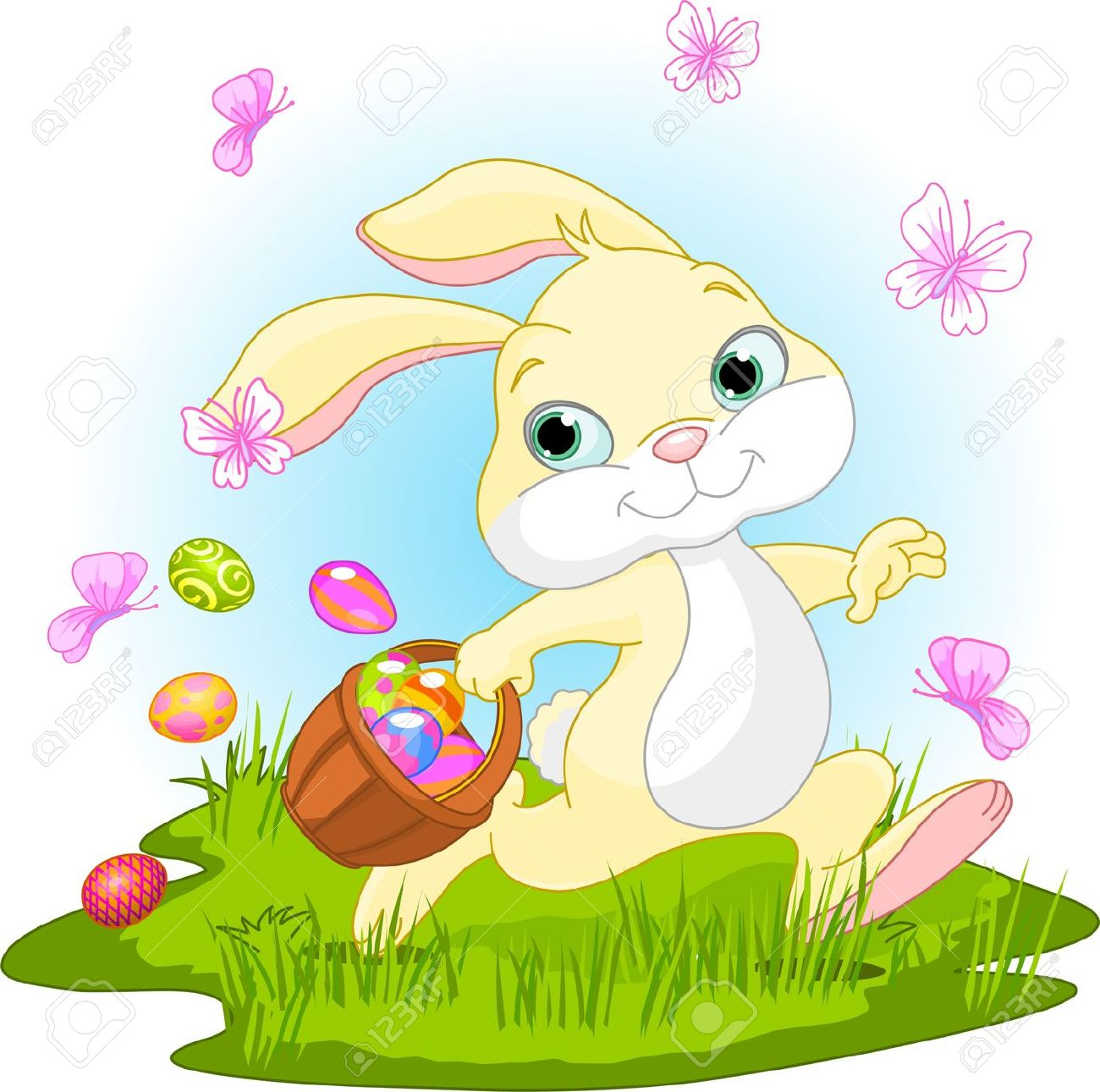 Cute easter basket clipart svg free stock Illustration Of Cute Easter Bunny Hiding Eggs Royalty Free ... svg free stock