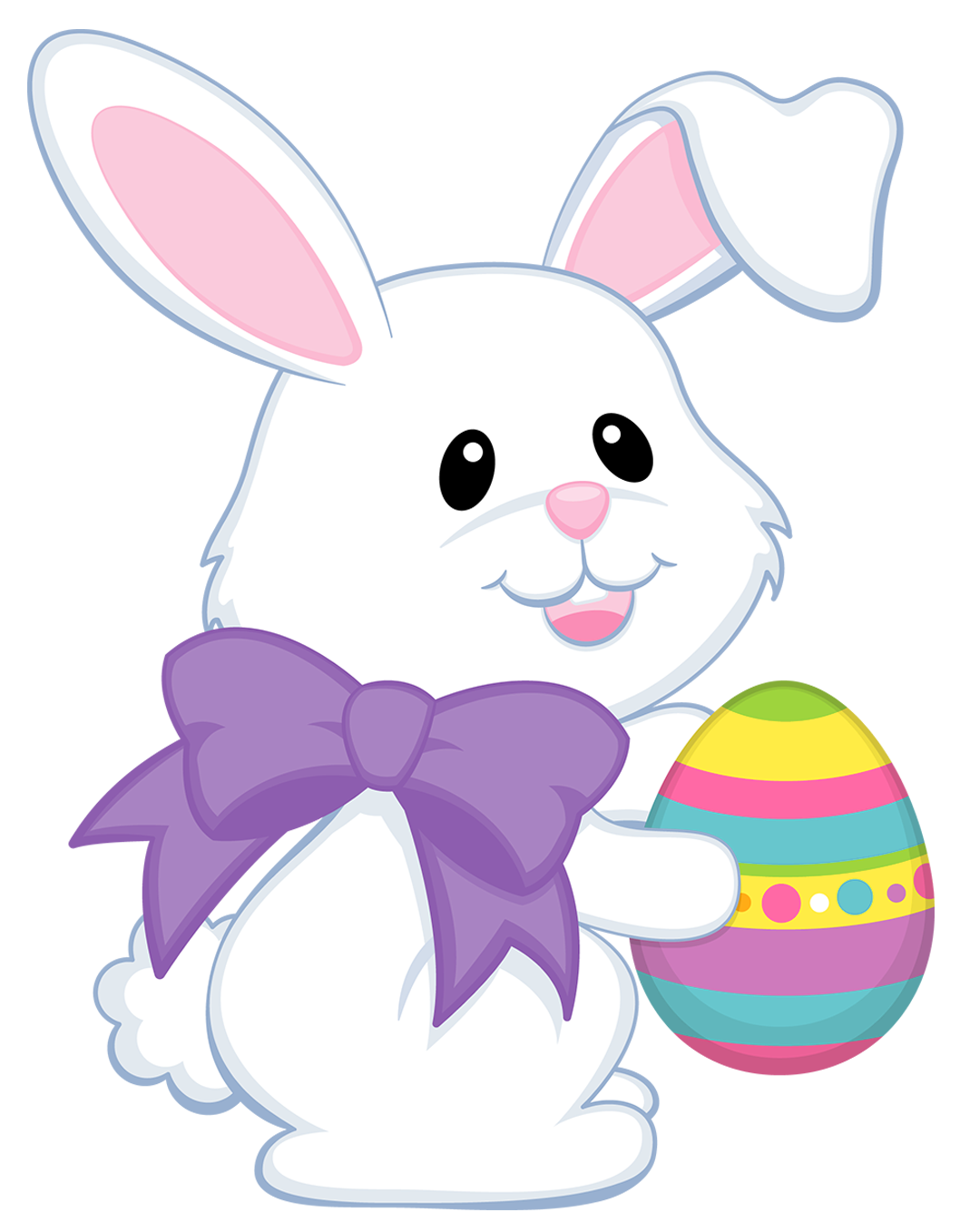 Cute easter bunny clipart graphic download Easter Cute Bunny with Purple Bow Transparent PNG Clipart   Gallery ... graphic download