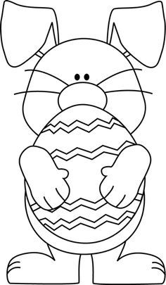 Black And White Easter Bunny Hugging An Easter Egg | line drawings ... svg freeuse