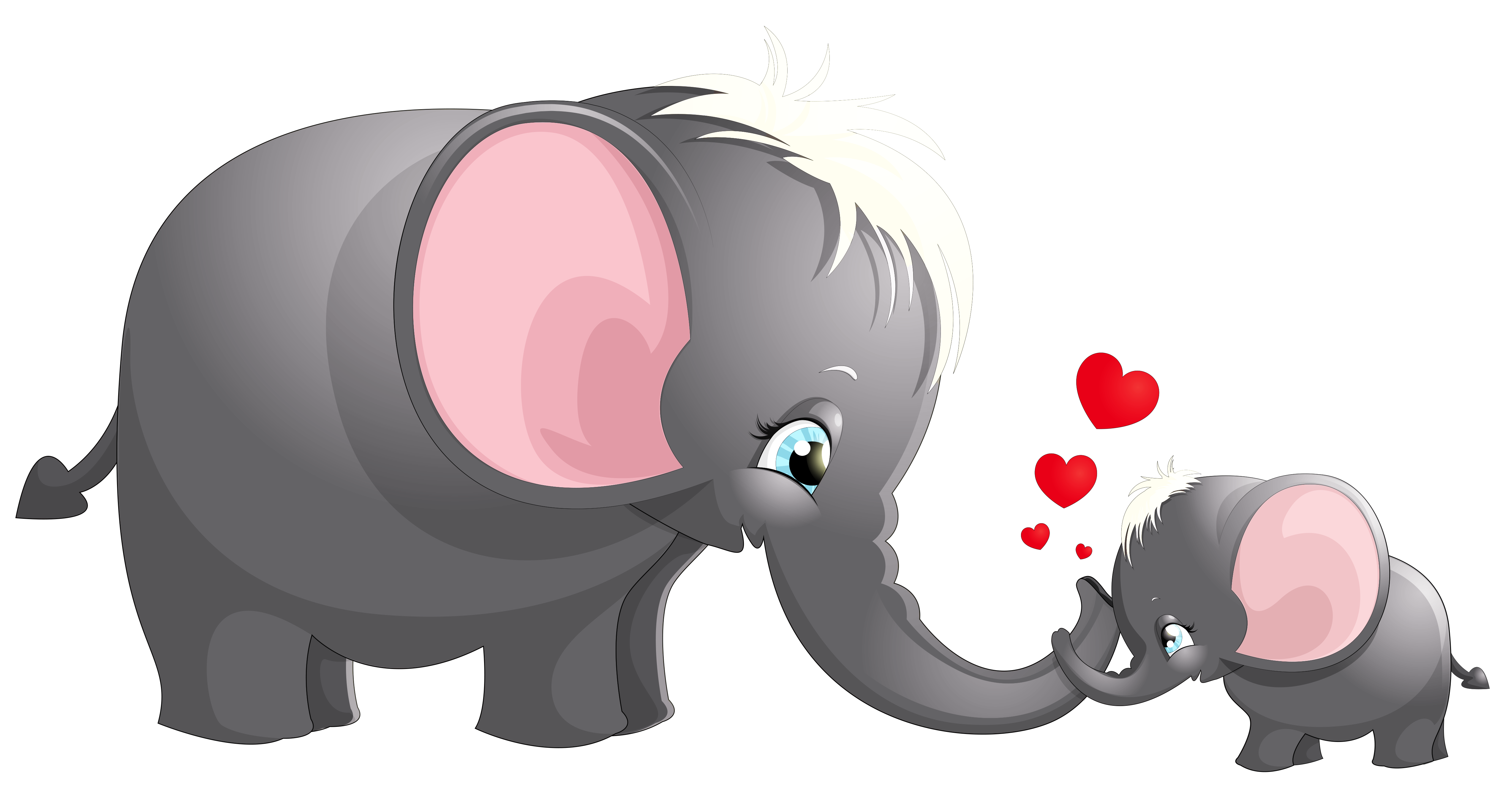 Transparent cute mom and. Elephant heart clipart