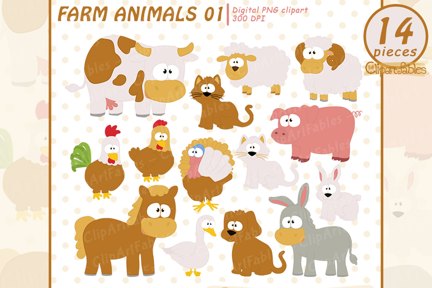 Cute farm animal clipart jpg freeuse download Farm clip art set, Barnyard clipart, cute farm animals jpg freeuse download