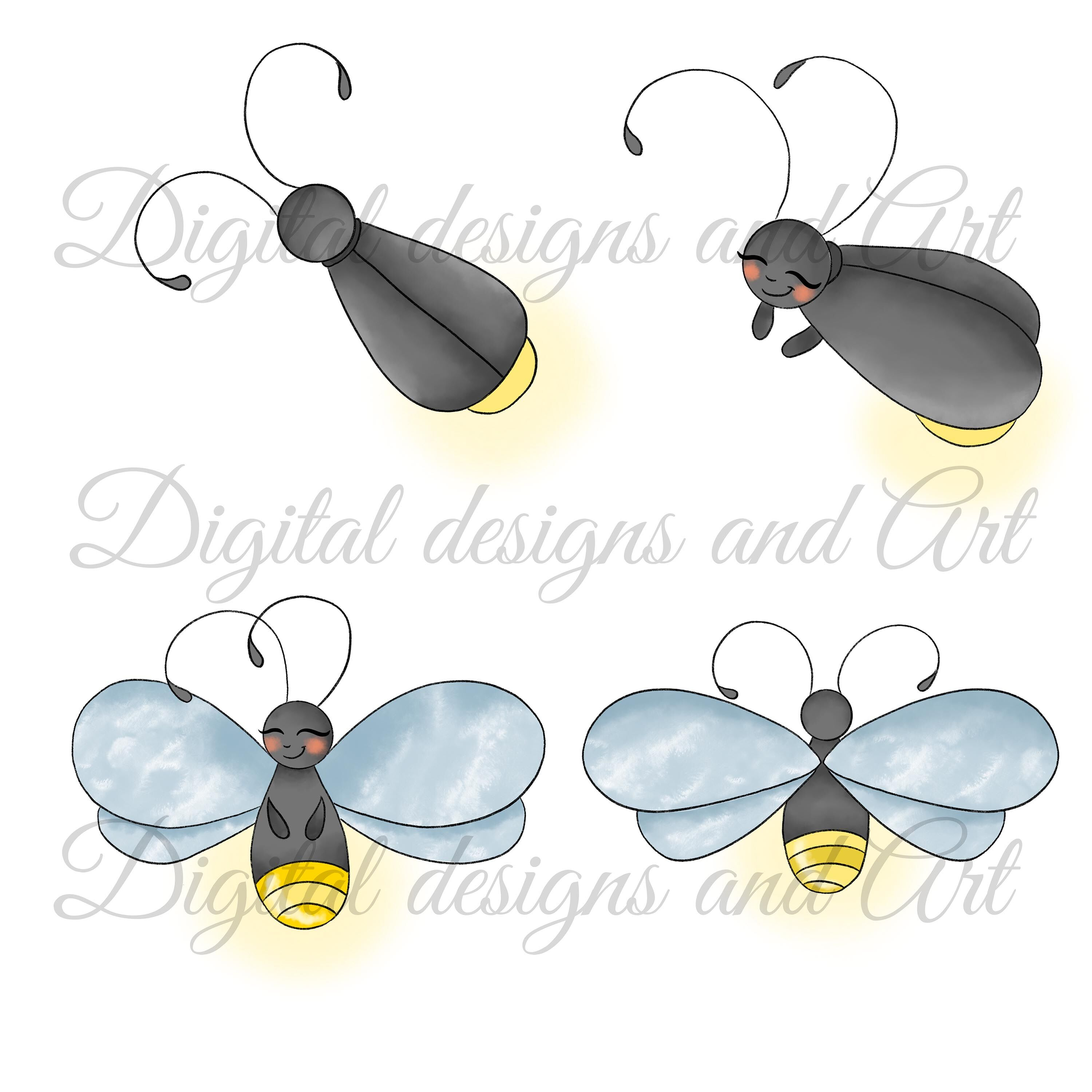 Cute firefly clipart picture library stock Cute firefly clipart By DigitalDesignsAndArt | TheHungryJPEG.com picture library stock