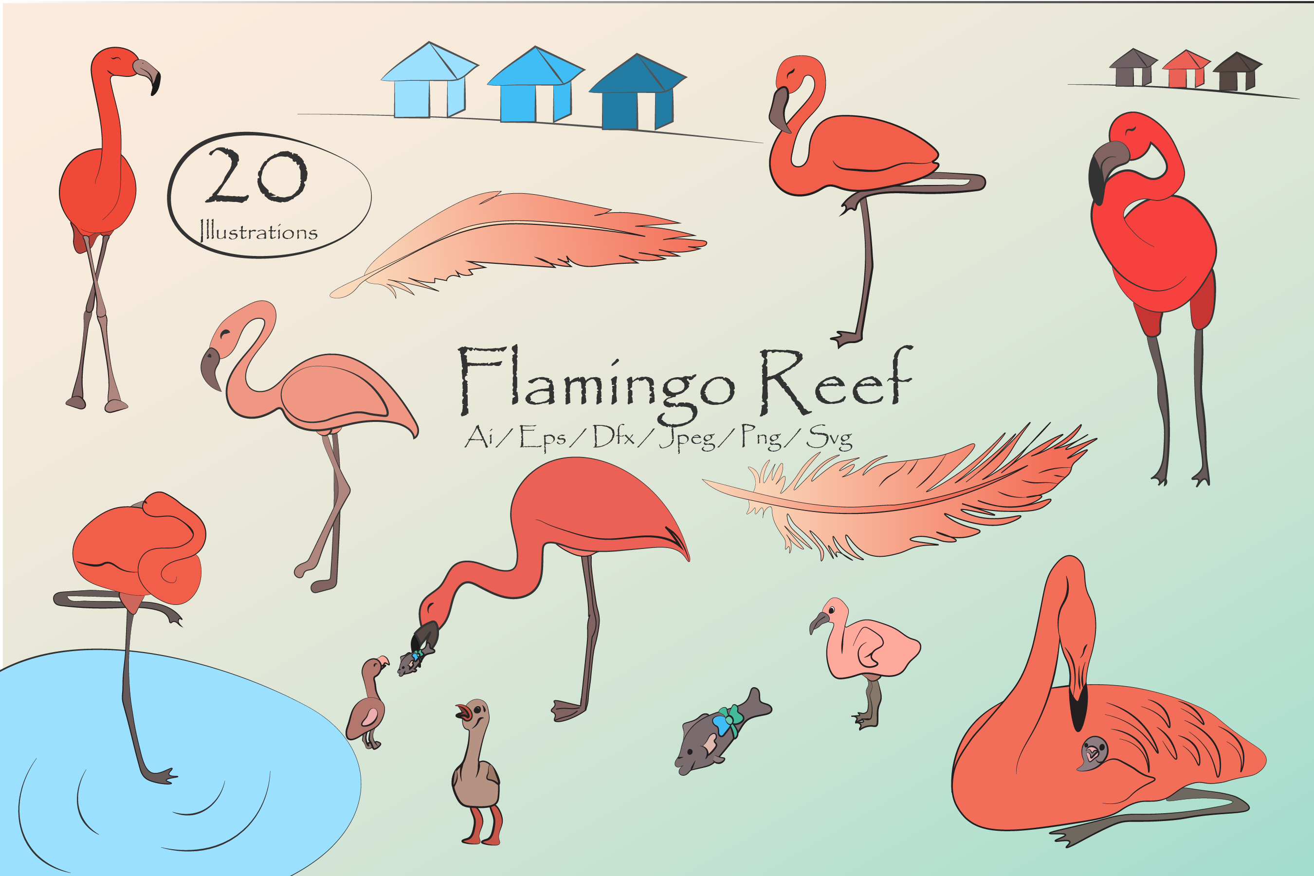 Cute flamingo clipart svg transparent library Flamingo Reef- Cute Flamingos Clipart svg transparent library