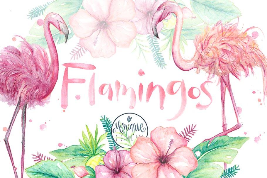 Cute flamingo clipart graphic stock Flamingo clipart, watercolor graphic stock