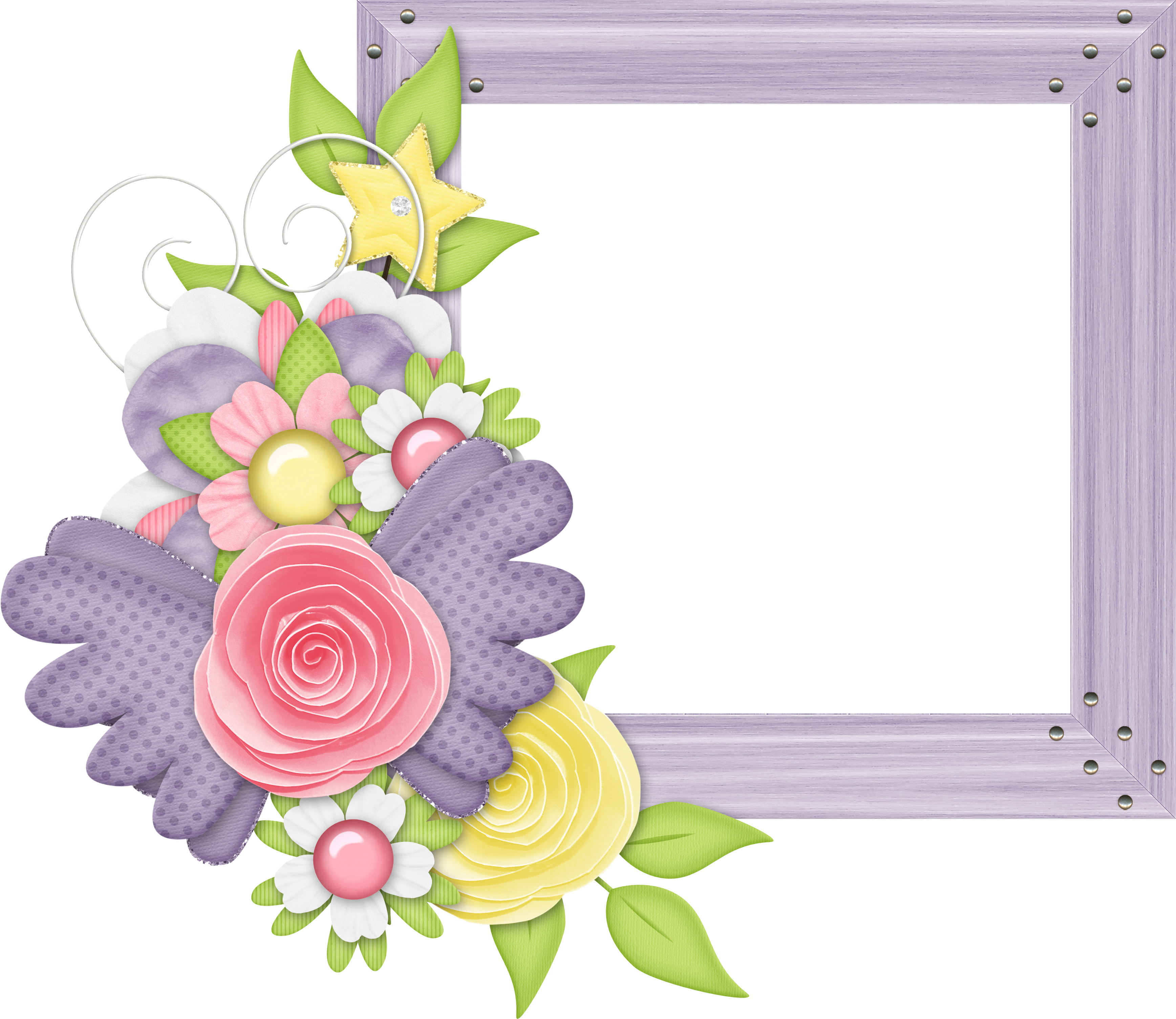 Cute flower border clipart jpg download Cute Large Design Purple Transparent Frame with Flowers   Gallery ... jpg download