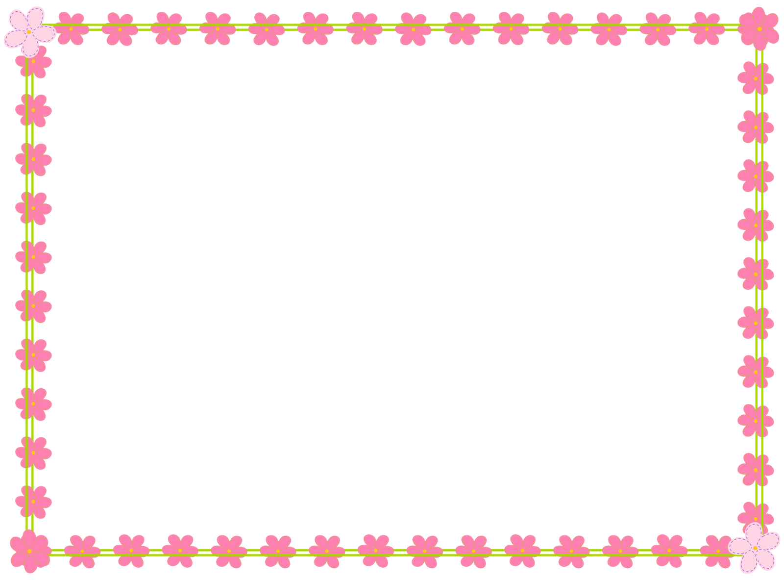Free flower borders clipart banner black and white Pink Flower Border Clip Art | Clipart Panda - Free Clipart Images banner black and white