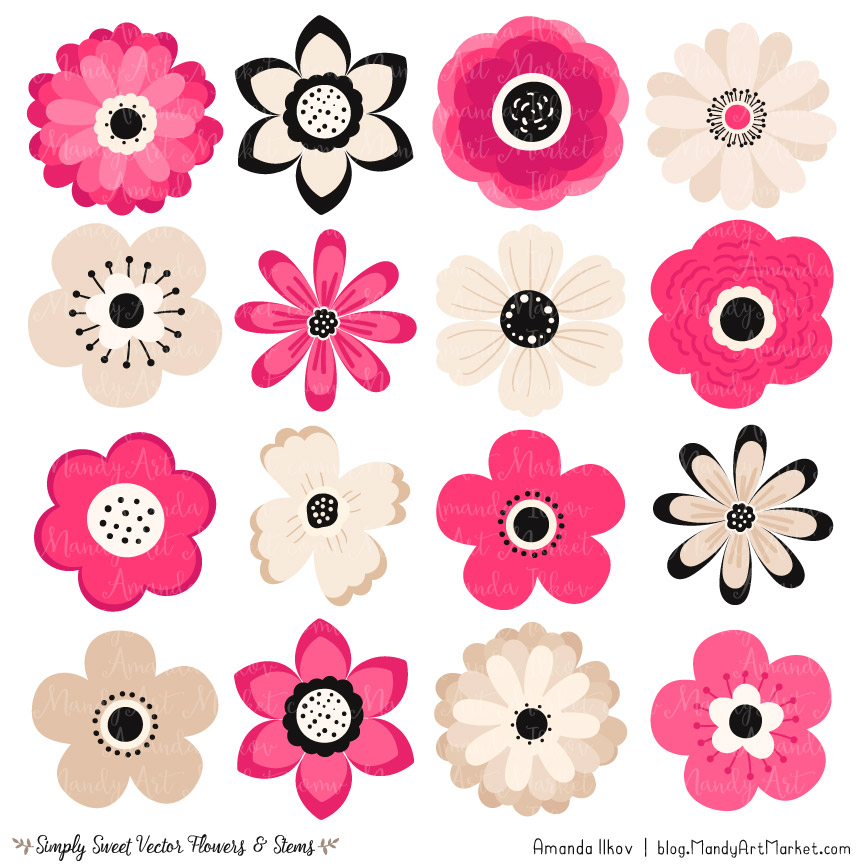 Cute flower cliparts banner Hot Pink Flower Clipart & Vectors banner