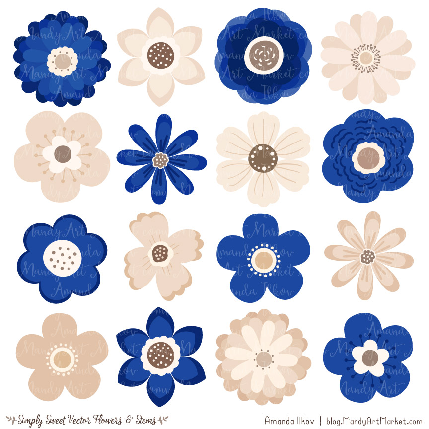 Cute flower cliparts banner freeuse download Royal Blue Flower Clipart & Vectors banner freeuse download