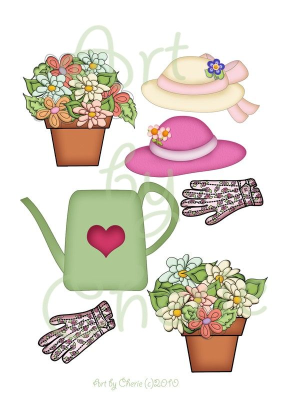 Cute flower pots clipart for mothers day banner black and white library Watering Can Clipart Cute Clipart Garden by ... banner black and white library