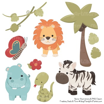 Wild Friends Cute Vintage Jungle Animals Clipart & Vectors by ... svg stock