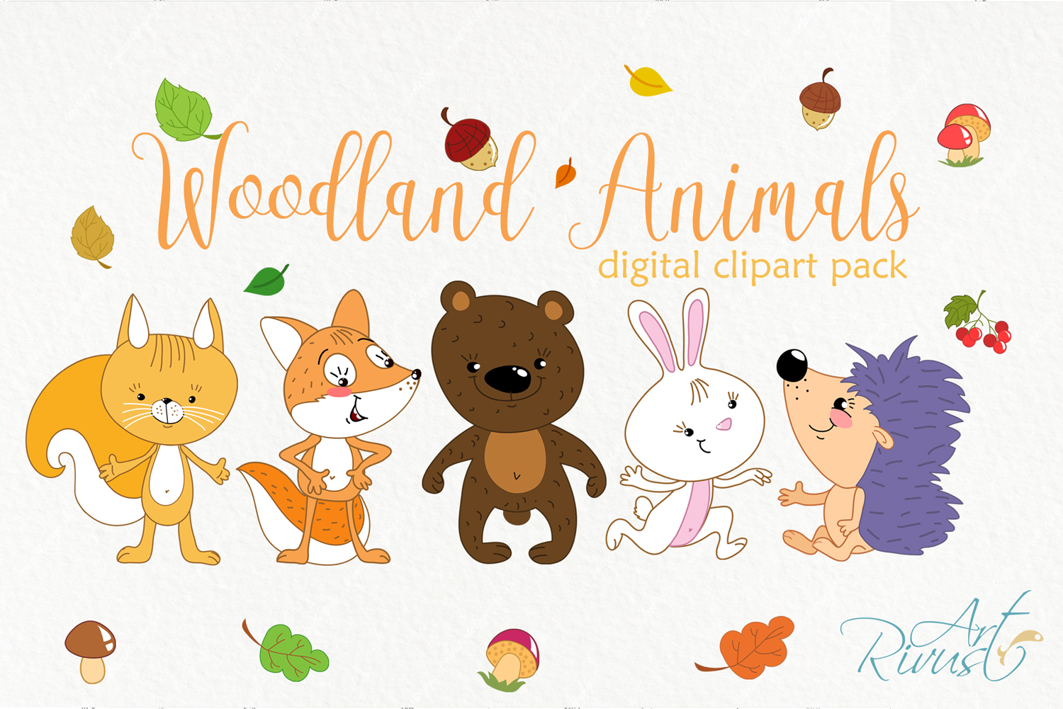 Forest friends clipart. Woodland cute animals clip art. clip art black and white