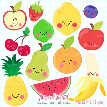 Cute fruit clipart vector transparent stock Kawaii Fruit Clipart Worksheets & Teaching Resources | TpT vector transparent stock