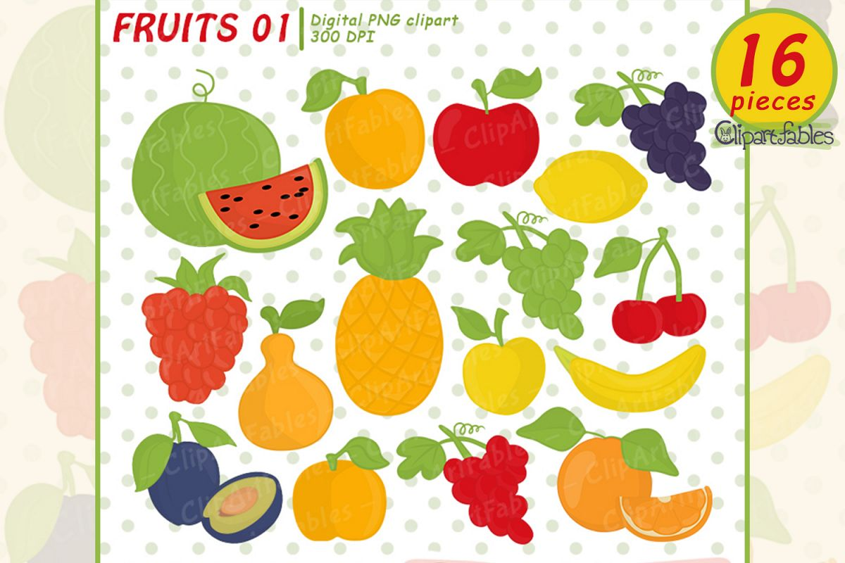 Cute fruit clipart png freeuse library Cute fruits clipart - instant download, digital clip art set png freeuse library