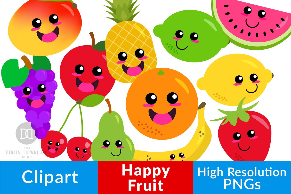 Cute fruit clipart jpg library Happy Fruit Clipart, Cute Fruit jpg library