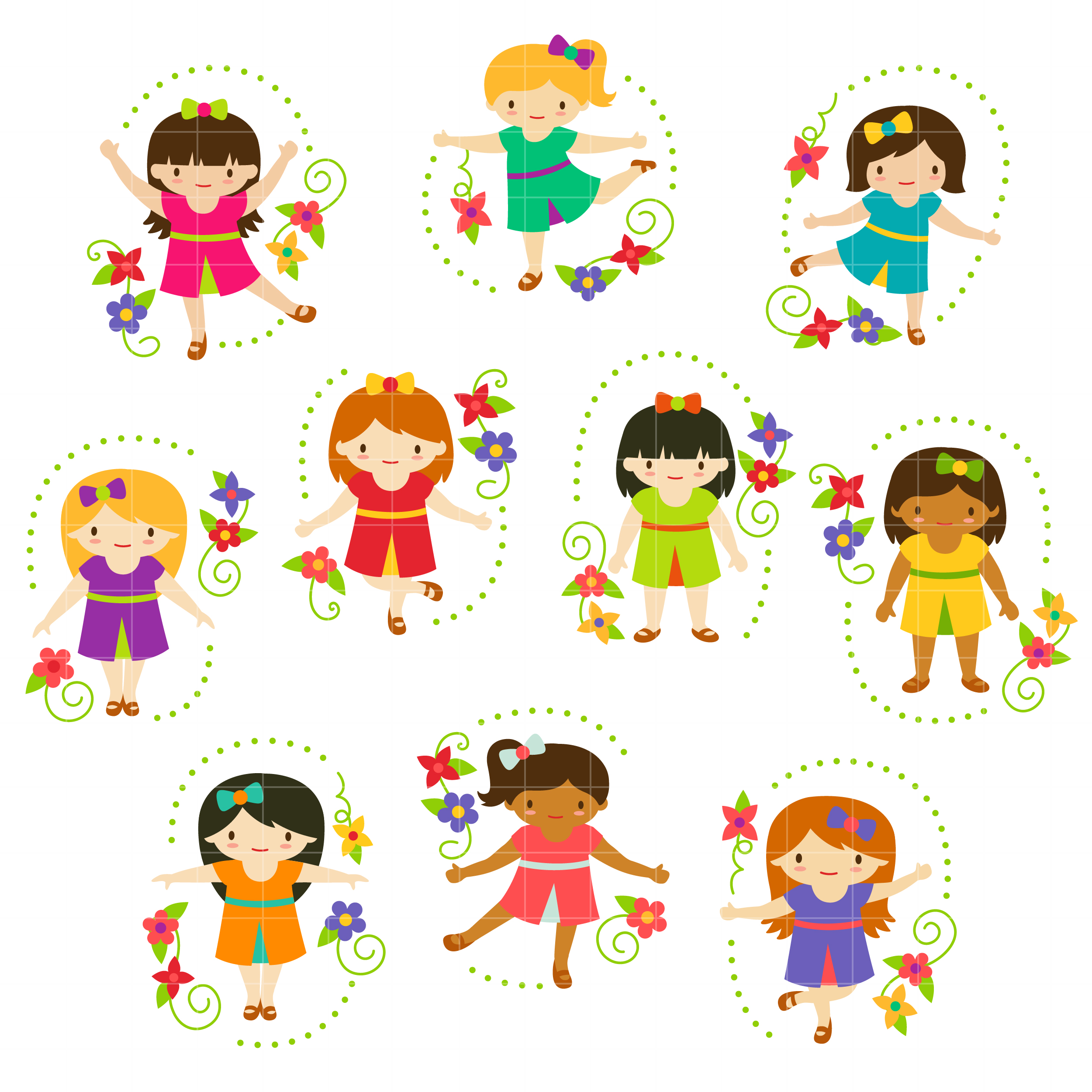 Cute Girls Set Semi Exclusive Clip Art Set For Digitizing and More jpg black and white