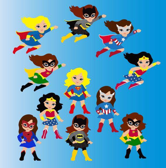 Cute girl superhero clipart graphic royalty free stock Girl Superhero Clip Art / Little Girls Superheroes / Supergirls ... graphic royalty free stock