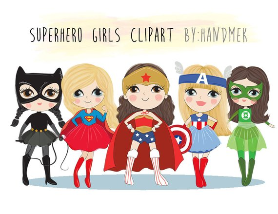 Cute girl superhero clipart picture black and white download Cute Superhero girls clipart set 1 : Instant Download PNG file - 300 ... picture black and white download