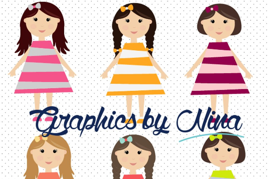 Cute Girls Clipart clip freeuse stock