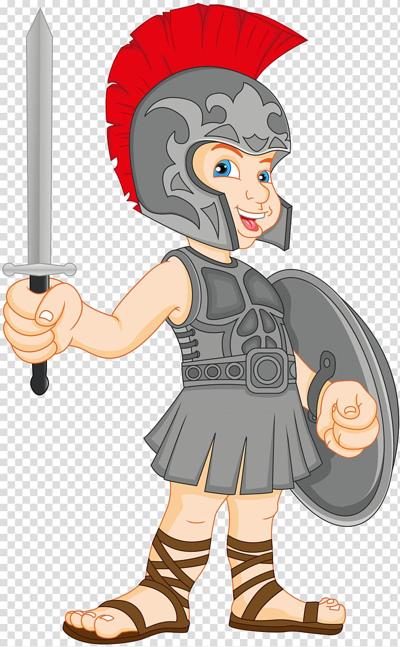 Cute gladiator clipart banner transparent stock Gladiator , Cute Roman warrior of the material transparent ... banner transparent stock