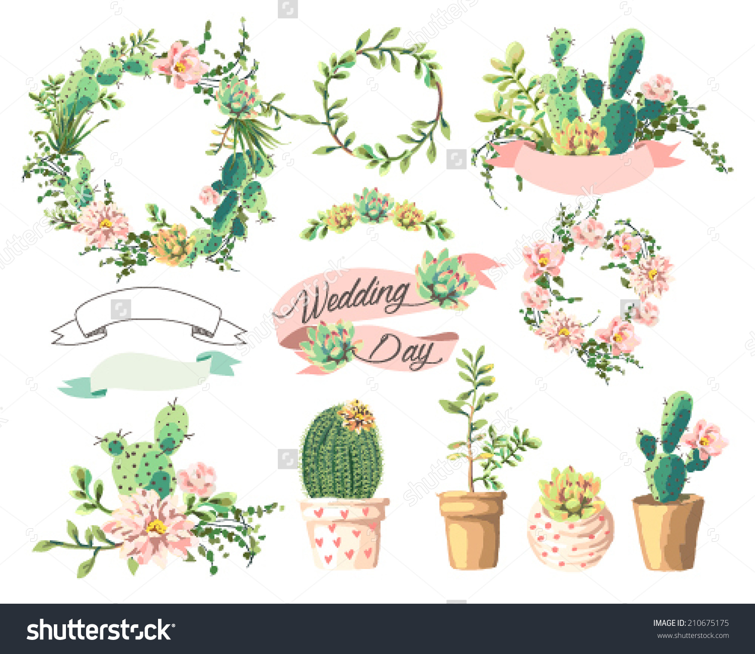 Cute graphic pictures black and white library Wedding Graphic Setcute Succulentswreathribbon Stock Vector ... black and white library