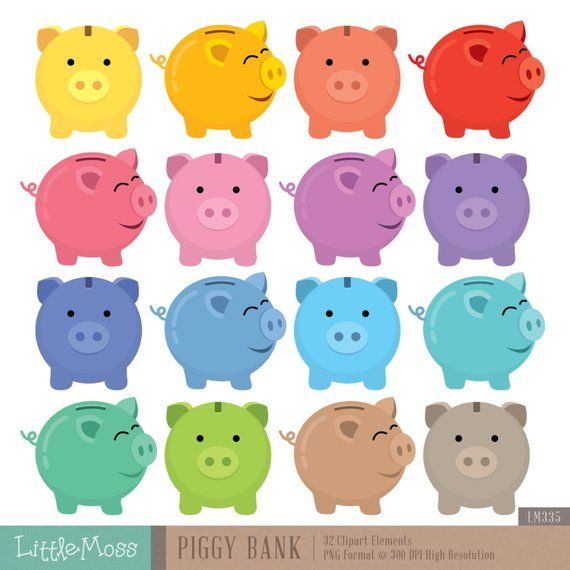 Cute graphics moss clipart png transparent download Piggy Bank Digital Clipart | Products | Clip art, Digital, Collage sheet png transparent download