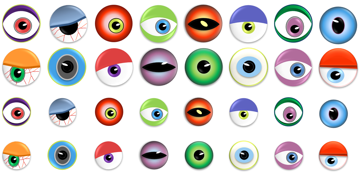 Monster eyes candy treats. Eyeballs clipart halloween