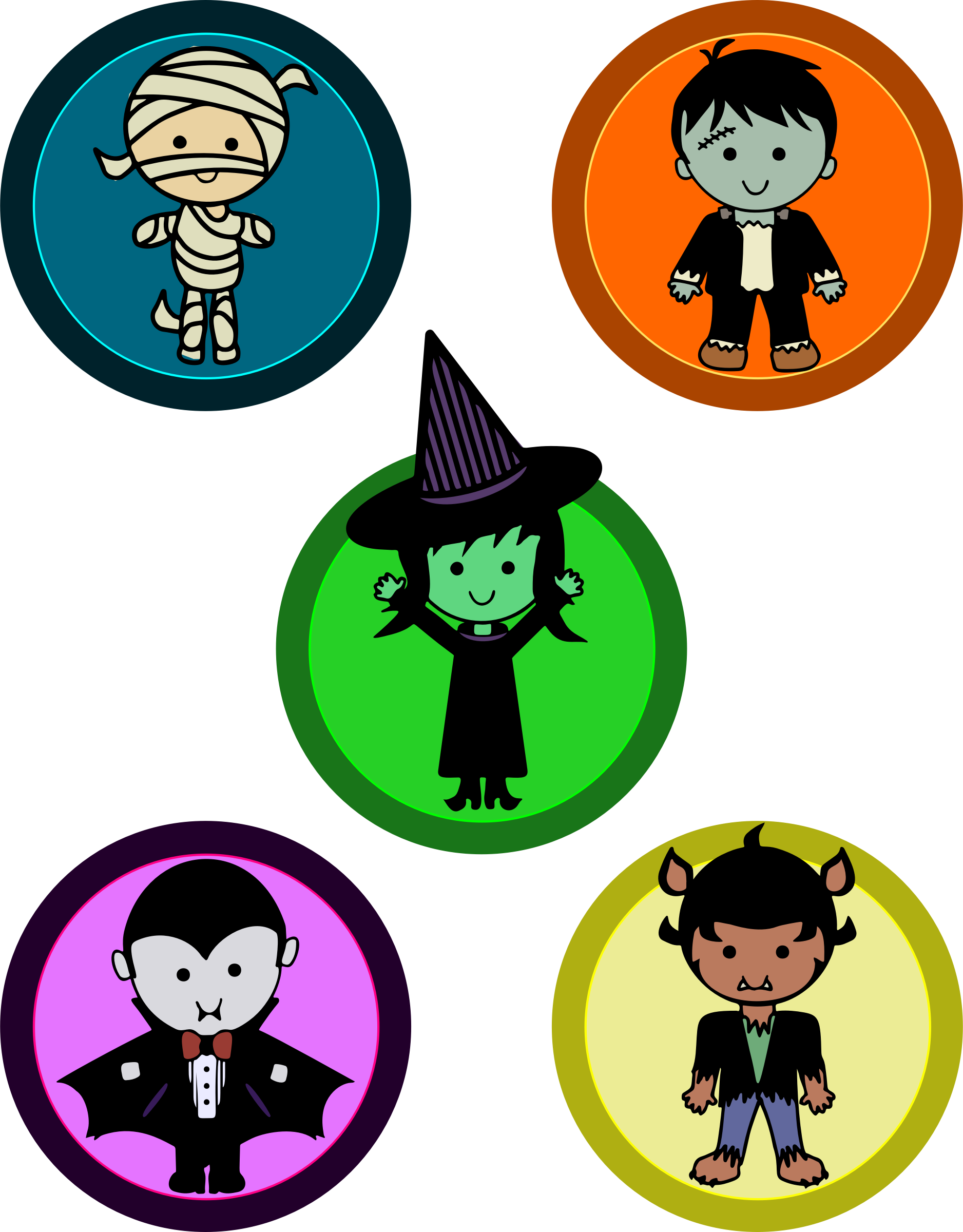 Halloween monster clipart library Clipart - Cute Halloween Monster Badges library
