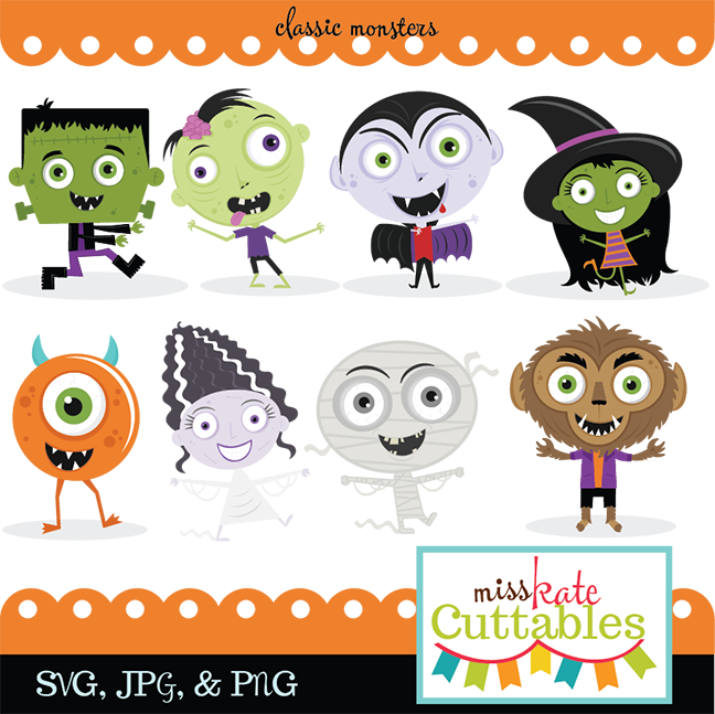 Free cute halloween clipart royalty free Classic Monster SVG bundle monster svg cut files cute halloween ... royalty free