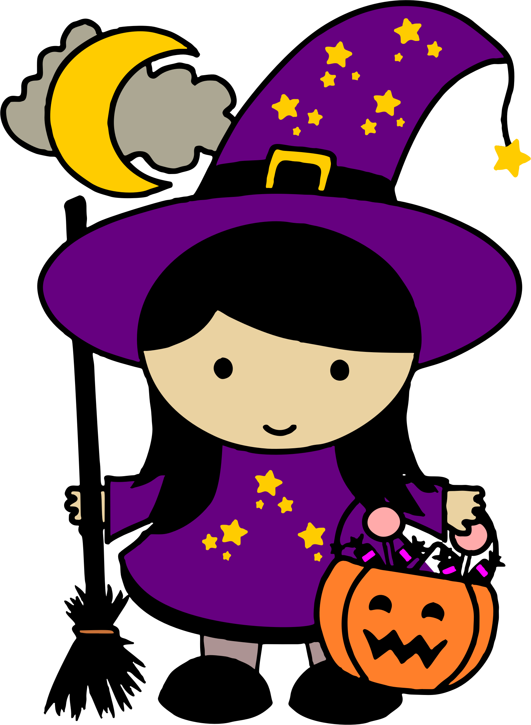 Cute halloween costume clipart vector royalty free stock Clipart - Cute Halloween Witch - Colored vector royalty free stock