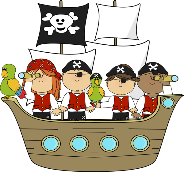 Pirates on ship theme. Cute halloween pirate clipart