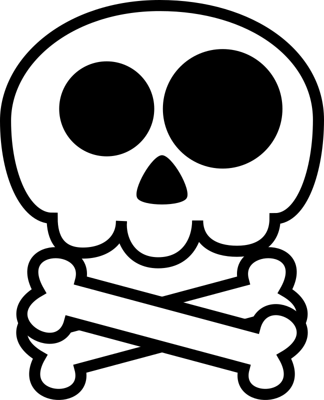 Naive skull medium image. Cute halloween skeleton clipart