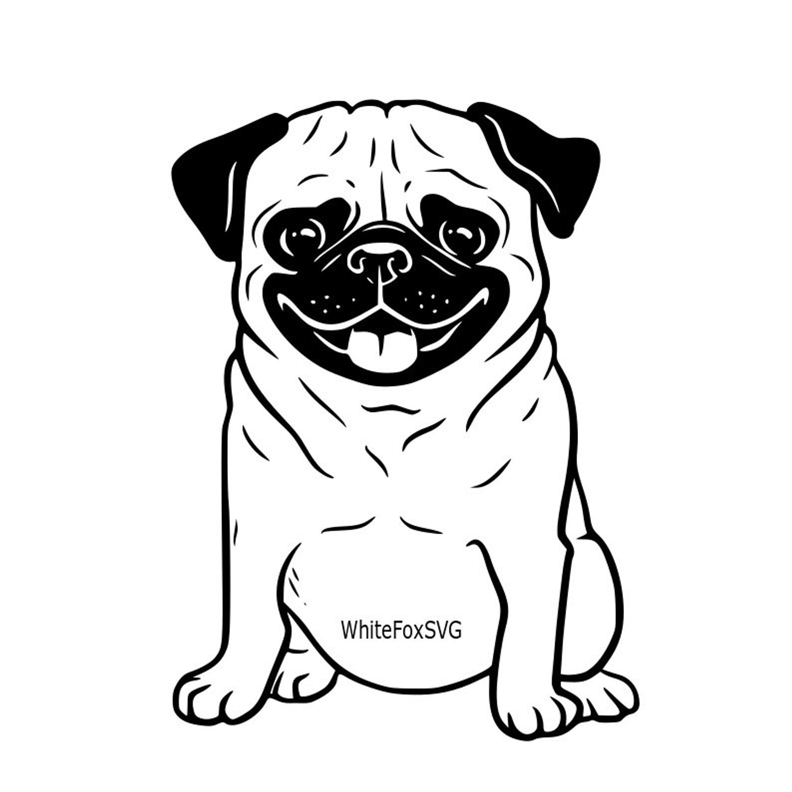 Cute happy dog clipart black and white banner free Funny cute adorable pug puppy smiling puppy SVG dog SVG ... banner free