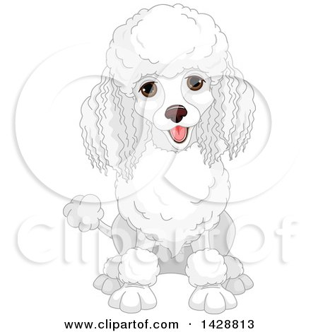 Cute happy dog clipart black and white clipart transparent download Clipart Of A Cute Happy White Poodle Dog Sitting Royalty ... clipart transparent download