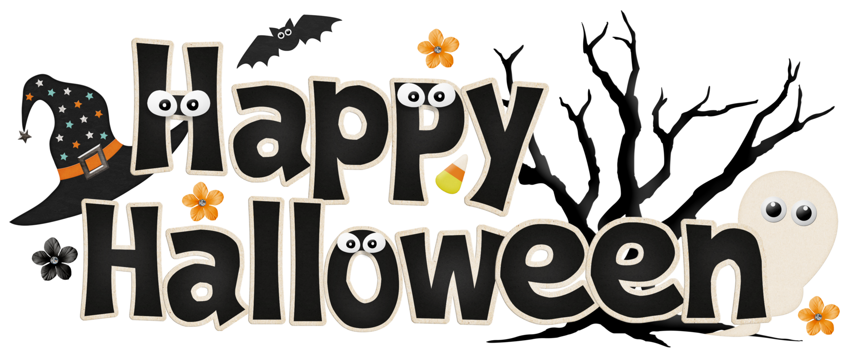 Happy halloween words clipart