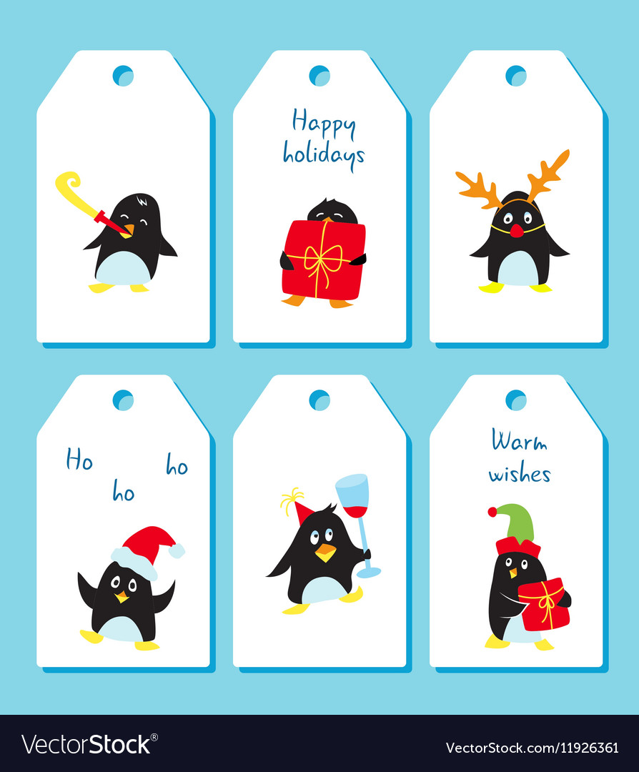 Cute happy holidays gift with tag clipart clipart transparent library Set of winter holiday tags with cute penguins clipart transparent library