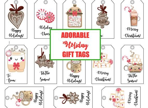 Cute happy holidays gift with tag clipart jpg royalty free Christmas holiday gift tag prints | PRINTABLE GIFT TAGS ... jpg royalty free