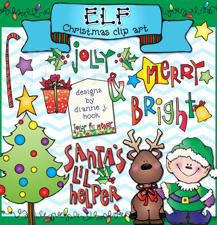 Cute happy holidays gift with tag clipart banner free stock Festive Christmas clip art with DJ\'s Elf & Reinder friends ... banner free stock