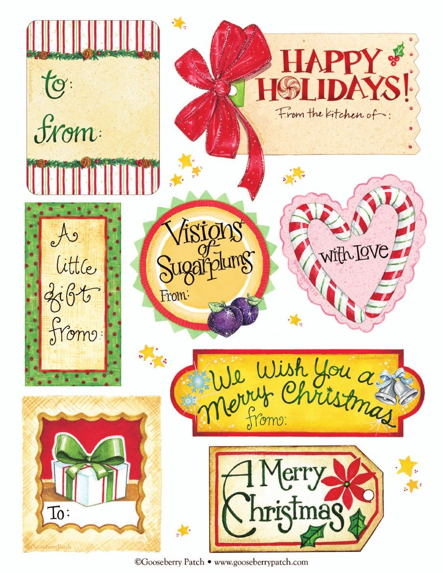 Cute happy holidays gift with tag clipart image freeuse Gooseberry Patch FREE PRINTABLE Christmas Tags (lots of cute ... image freeuse