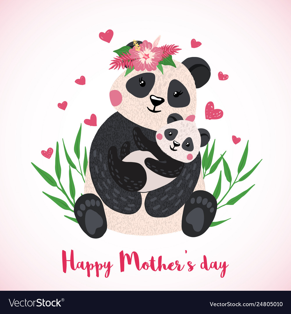 Cute happy mothers day cliparts svg freeuse Happy mothers day card with cute pandas svg freeuse
