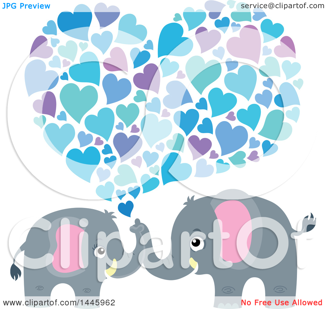 Cute hearts clipart blue clipart free Clipart of a Cute Gray Elephant Couple Spraying Blue Hearts ... clipart free