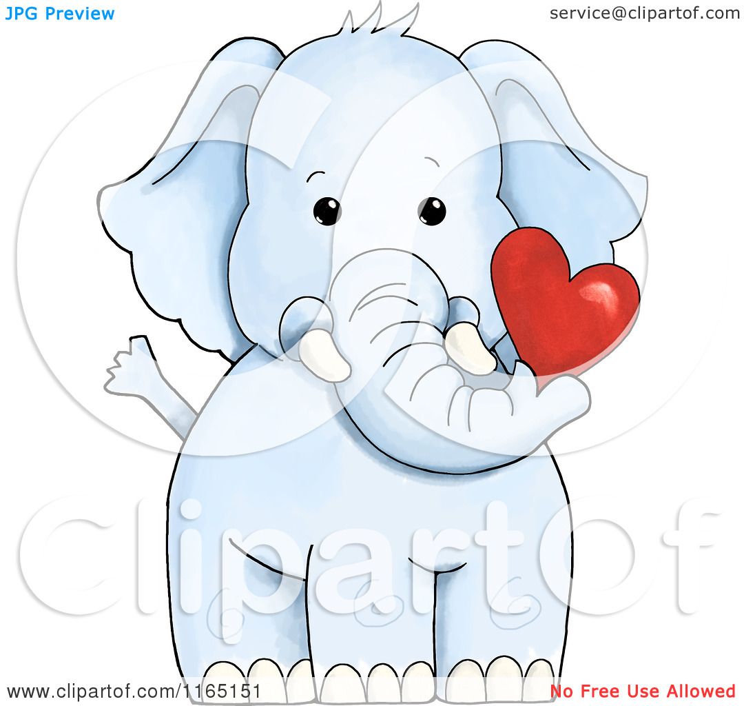 Cute hearts clipart blue png freeuse download Cartoon of a Cute Blue Elephant Holding a Valentine Heart ... png freeuse download