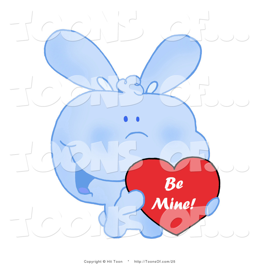 Cute hearts clipart blue clip art download Cartoon of a Cute Blue Bunny Rabbit with Blushed Cheeks, Holding ... clip art download