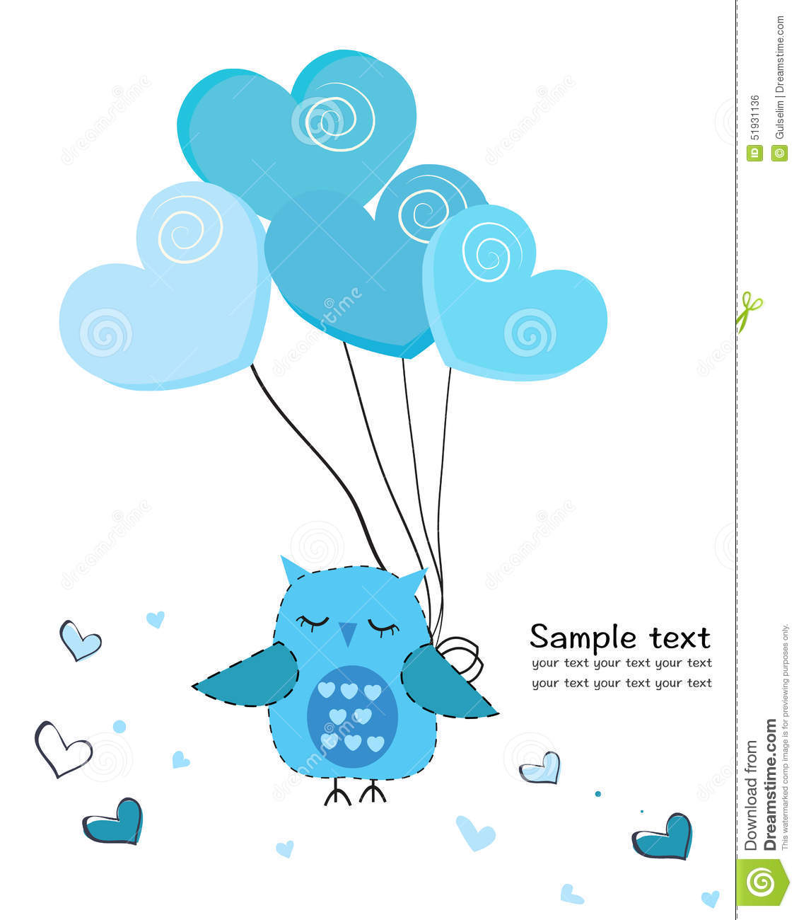 Cute hearts clipart blue transparent stock Cute Owl With Hearts Balloon Greeting Card Stock Illustration ... transparent stock