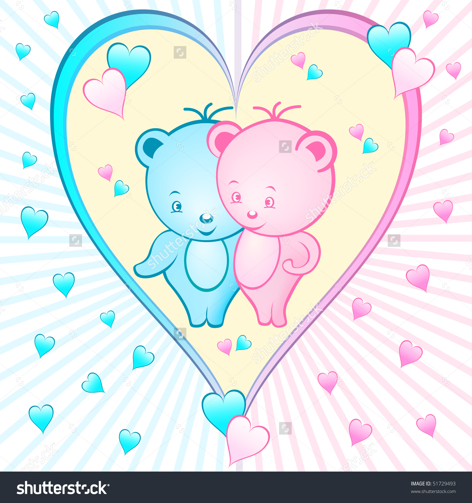 Cute hearts clipart blue image free Cute Bear Cartoon Characters Set Inside Stock Vector 51729493 ... image free