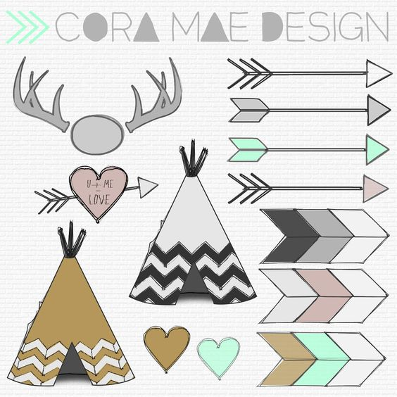 Cute horizontal arrow clipart banner stock Cora Mae Design: Free TeePee, Antler, Arrow clipart, Tribal print ... banner stock