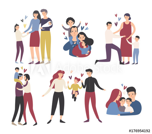 Cute hugs and kisses clipart for kids picture royalty free library Happy loving family. Mother, father and children smiling ... picture royalty free library